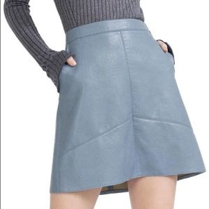 Zara Basic Faux Leather Mini Skirt Baby Blue Vegan